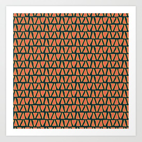 Desert Triangles - Geometric Orange and Blue Pattern Art Print
