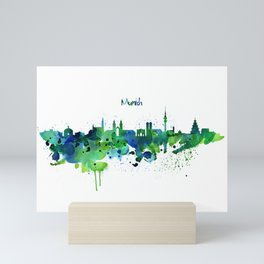 Munich Skyline Silhouette Mini Art Print
