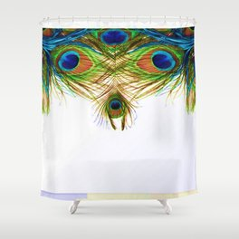 GORGEOUS BLUE-GREEN PEACOCK FEATHERS ART Shower Curtain