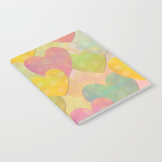 Pastel Colors Flying Hearts Notebook
