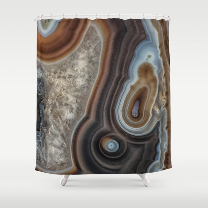 Mocha Swirl Agate Shower Curtain By Rogerporter