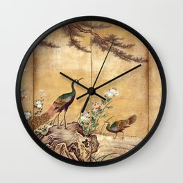 Kano Mitsunobu Birds, Trees, and Flowers Wall Clock
