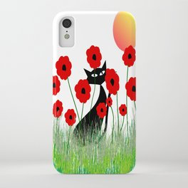 Whimsical Black Cat and Red Poppies iPhone Case