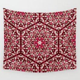 Red geometric Mandala Rich Ornament Wall Tapestry