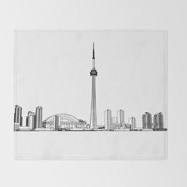 Toronto Skyline - Black on White Throw Blanket