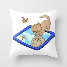 Who's That Cat In The Mirror? Throw Pillow
