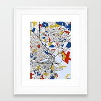 boston map Framed Art Prints featuring Boston Mondrian map by Mondrian Maps