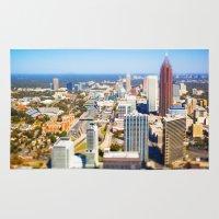 atlanta Area & Throw Rugs featuring Atlanta Downtown by GF Fine Art Photography