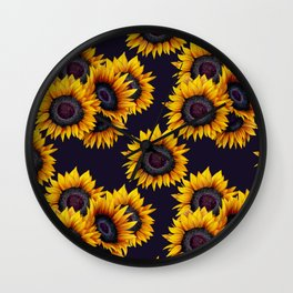 Sunflowers yellow navy blue elegant colorful pattern Wall Clock