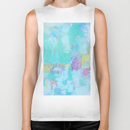 Turquoise, Blue Abstract Work Biker Tank