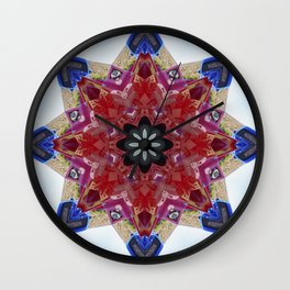 Red and blue classic trucks kaleidoscope Wall Clock