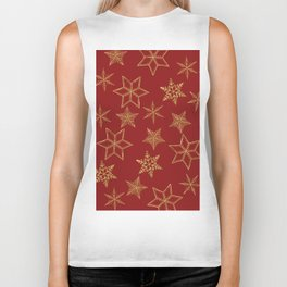 Snowflakes Red And Gold Biker Tank