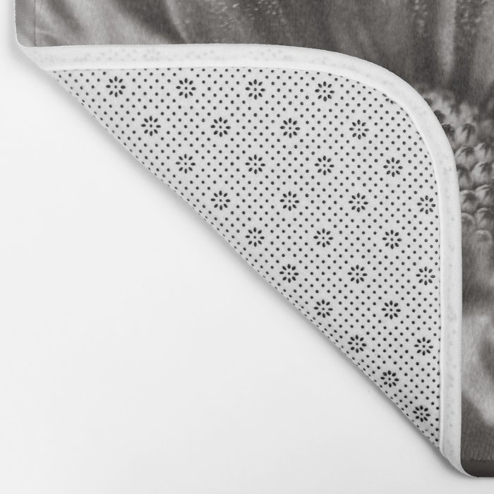 Flower in Black and White Bath Mat