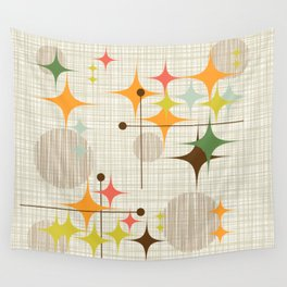 Mid Century Modern Starbursts and Globes 3a Wall Tapestry
