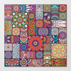 Boho Patchwork Quilt Pattern 2 Canvas Print