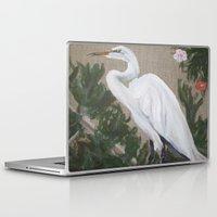 crane Laptop & iPad Skins featuring Crane by Lark Nouveau Studio