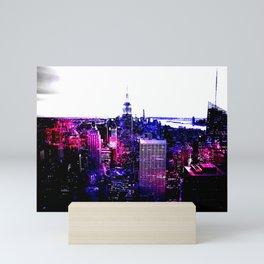 new york City Pink Purple Blue Mini Art Print