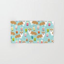 corgi boba tea bubble tea cute kawaii dog breed fabric welsh corgis dog gifts Hand & Bath Towel