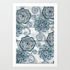 Navy Blue Floral Doodles on Wood Art Print