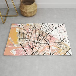 Manila Philippines Watercolor Street Map Color Rug