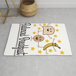 The cute & funny Tee with great graphic design for person don't wanna miss a diet Balanced breakfast Rug