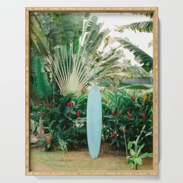 The blue surfboard | Travel photography print | The Dominican Republic Serving Tray