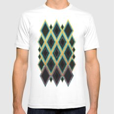 Diamond pattern White Mens Fitted Tee MEDIUM