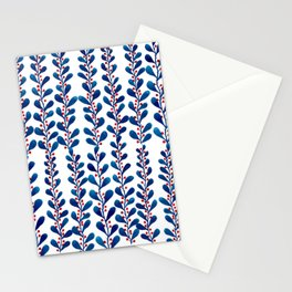 Watercolor blue leaves and red polka dots Stationery Cards