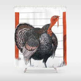 Vintage illustration of a Thanksgiving Turkey Shower Curtain