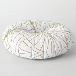 Diamond Series Inter Wave Gold on White Floor Pillow