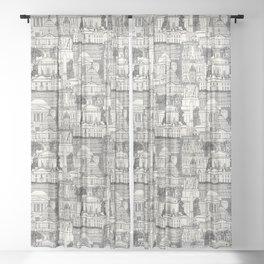 Washington DC toile gray Sheer Curtain