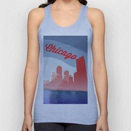 Chicago Skyline Travel Poster Unisex Tank Top
