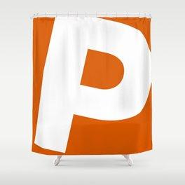 Sans Serif P. White on Red Orange. Shower Curtain