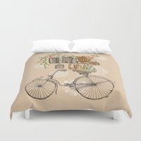 bicycle Duvet Covers featuring Pleasant Balance by florever