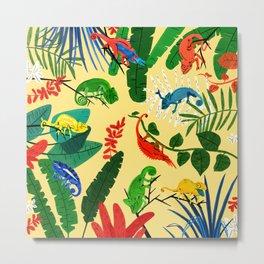 Nine Chameleons Hiding in the Tropics Metal Print