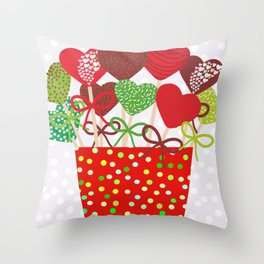 Christmas design Cake pops set with bow gray background with snowflakes. Throw Pillow