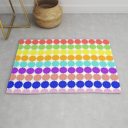 Stylized round multi-colored flowers (white background) Rug