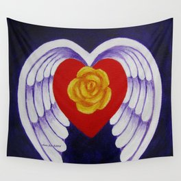 You Are My Angel With Heart Rose And Angel Wings By Annie Zeno Wall Tapestry