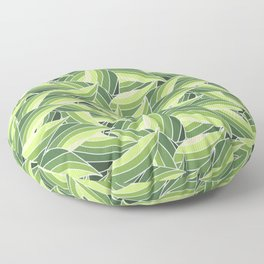 GREENERY LEAVES W  (abstract flowers nature) Floor Pillow