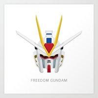 gundam Art Prints featuring Freedom Gundam by Ana A