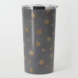 gold christmas stars geometric pattern grey graphite cement concrete Travel Mug