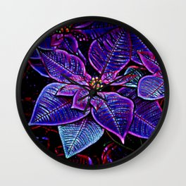 Psychedelic Poinsettia Wall Clock