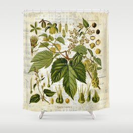 Common Hop Botanical Print on Vintage almanac collage Shower Curtain