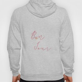 Bonjour Hello French Art Print Flower Home Decor Calligraphy Watercolour Pink Hoody