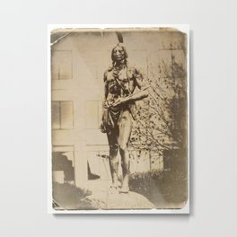 Massasoit Statue, Kansas City, Vintage Postcard Effect Metal Print