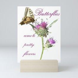Butterflies Come To Pretty Flowers Korean Proverb Mini Art Print