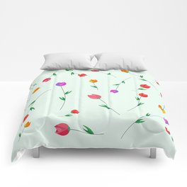 Pattern of tulips. Tulips scattered on the web Comforters