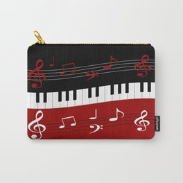 Stylish red. black and white piano keys and musical notes Carry-All Pouch