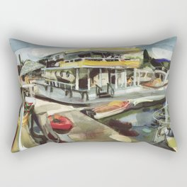 Capt. Carl W. Bolender sits abroad the S.S. Hurricane Gloria - Long Wharf, Newport Rectangular Pillow