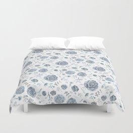 Flower Pattern - Gray/Blue/Charcoal Duvet Cover